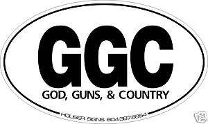 God Guns & Country conservative bumper sticker NRA