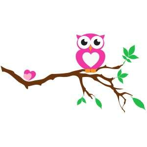 Cute Owl on Tree Branch   Vinyl Wall Decal