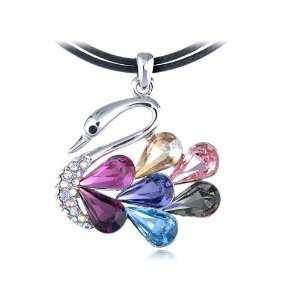 Colorful Fuchsia Blue Rhinestone Bodied Swan Swarovski Crystal Element