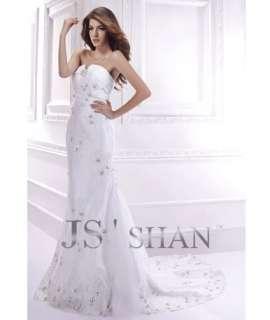 SALE White Applique Strapless Lace Mermaid Bridal Gown Wedding Dress