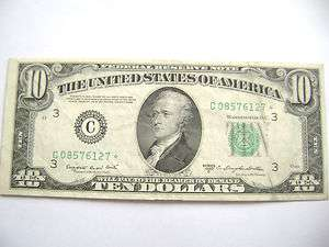 STAR NOTE* TEN DOLLAR BILL FEDERAL RESERVE NOTE/PHILA.,PA. EF