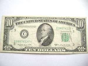 STAR NOTE* TEN DOLLAR BILL FEDERAL RESERVE NOTE/PHILA.,PA. EF