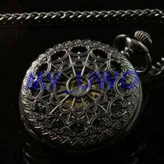 NEW Black Classical Mechanical Pocket Watch Chain FOB