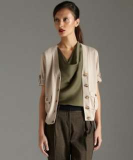 MICHAEL Michael Kors chino cotton blend button cardigan sweater