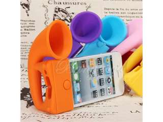 Cute Portable Silicone Horn Stand Amplifier Speaker For iPhone 4 4S 4G