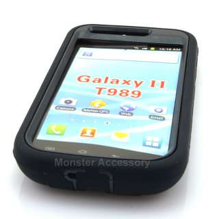 Black Double Layer Kickstand Hard Case Gel Cover For Samsung Galaxy S2