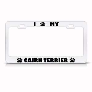 Cairn Terrier Dog White Animal Metal License Plate Frame