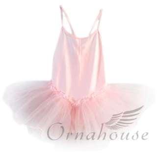 Girls Fairy Ballet Dance Leotard Tutu Skate Dress Skirt Pink