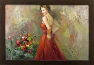 Lady Red Dress Flowers Female Art   FRAMED OIL PAINTING