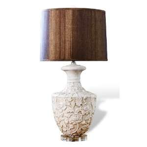 Kendall Shabby Chic Floral Urn Wood Shade Lamp