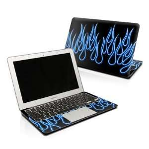 Blue Neon Flames Design Skin Decal Sticker for Apple