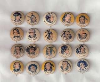 Set of 20 Western Theme Cracker Jack Pinbacks / Pins / Buttons