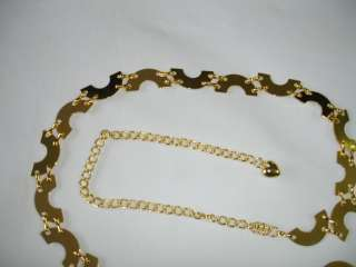 Half Circle Pattern Metal Chain Belt S M L Silver Gold
