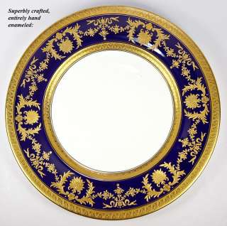 Coalport Dinner Plate Set, Raised Gold Enamel on Cobalt Blue, 7pc