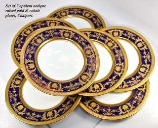 Coalport Dinner Plate Set, Raised Gold Enamel on Cobalt Blue, 7pc