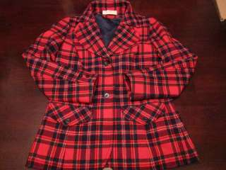 VTG Pendleton Womens Cute Red & Green Plaid Wool Skirt Suit Jacket