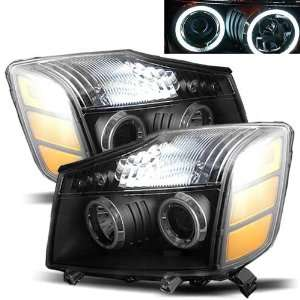 04 07 Nissan Titan Black CCFL Halo Projector Headlights /w
