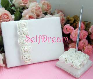 GB01 Ivory Satin Rose Cover Wedding Guest Book Pen Set