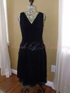 Liz Claiborne Chiffon Tiered Ruffle Bottom Cowl Neck Sleeveless Dress