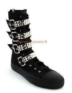 DEMONIA Womens Goth Punk Studded Sneakers Calf Boots