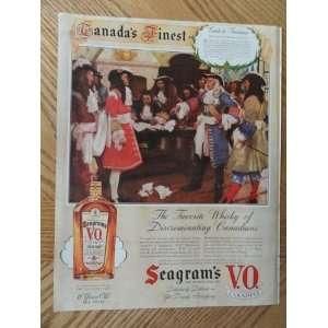 Seagrams V.O. Canadian Whiskey, Vintage Illustrated art