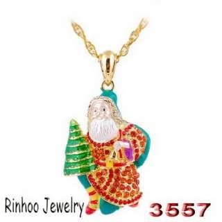 HOT SALE Christmas tree bells Santa Claus necklace 46*34mm 2PCS W31101