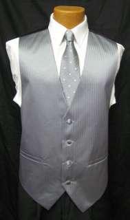 New Mens Silver Herringbone Fullback Vest & Tie L Prom