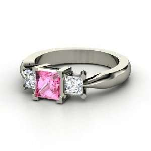 Ariel Ring, Princess Pink Sapphire 14K White Gold Ring