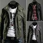 2012 Men Stylish Slim Faux Leather Short Coat Motorcycle Jacket New