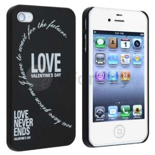 2pcs New White Black Love Heart Hard Case Cover For iPhone 4G 4S
