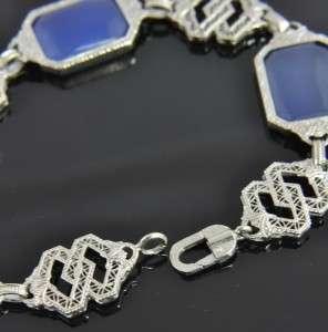 Estate 10K White Gold Blue Chalcedony Art Deco Filigree Link Bracelet
