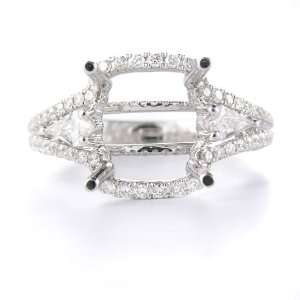 Diamond & 18k White Gold Engagement Ring Mounting Jewelry