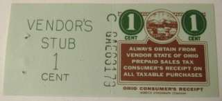 Cent Ohio Sales Tax Receipt Stamp & Stub, Unused