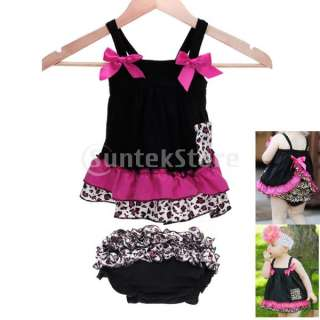 Kids Infant Baby Girl Bow Ruffle Top Dress + Pants Set Bloomers Nappy