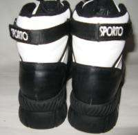 SPORTO SNOW SKI BOOTS BLACK WHITE HIGH TOP ANKLE SUPPORT 6.5