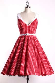 50S Vintage Red/White Size M Pinup Swing Belt Dress Rockabilly Retro