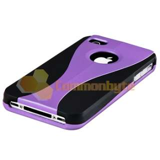 Purple Rubber Hard Case Cover+PRIVACY Filter Protector for iPhone 4 G