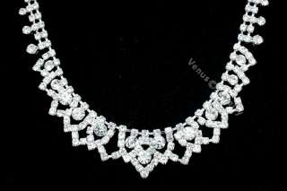 Bridal Wedding Prom Crystal Necklace Earrings Set 1256