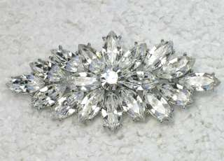 CLEAR RHINESTONE CRYSTAL PIN BROOCH BRIDAL WEDDING C137