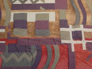 Brown Purple Red Modern Retro Upholstery Fabric bty