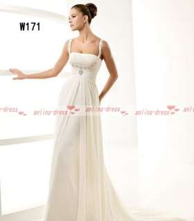 Simple Spaghetti Strap Chiffon White/Ivory Bridal Beach Wedding Dress