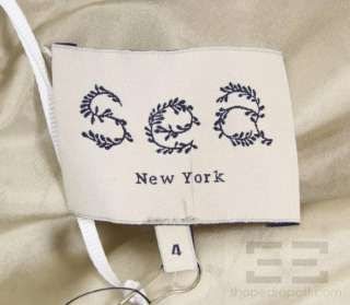 Sea New York Taupe Draped Silk & White Lace Cap Sleeve Dress Size 4