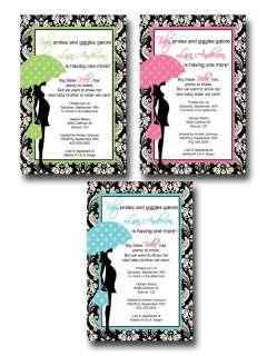 Black Damask Pink Green Blue Sprinkle Baby Shower Invitation Card