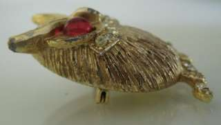 Vintage Gold toned Owl Brooch w/ Red Glass Eyes and Clear Rhinestones