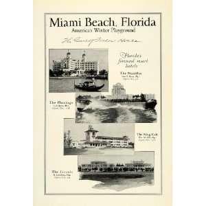 1925 Ad Miami Beach Florida Resort Hotels Nautilus Flamingo King Cole