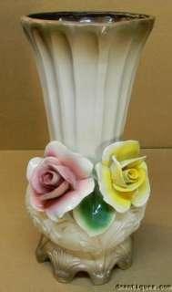 VINTAGE 1940s ITALIAN DECORATIVE CAPODIMONTE ROSE FLOWERS LARGE
