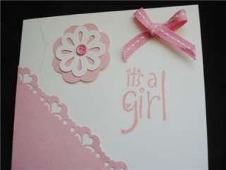 Handmade Pink Its A Girl Baby Card Stampin Up