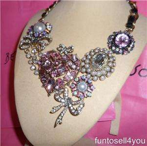 Betsey Johnson Cupids Arrow Pink Heart Large Statement Necklace NWT