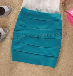 Candy Colors Womens Stripe High Waist Bodycon Bandage Stretch Mini