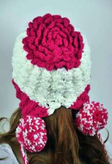 Young Lady Winter Ski Hat Cap Lovely String Balls Pink& White